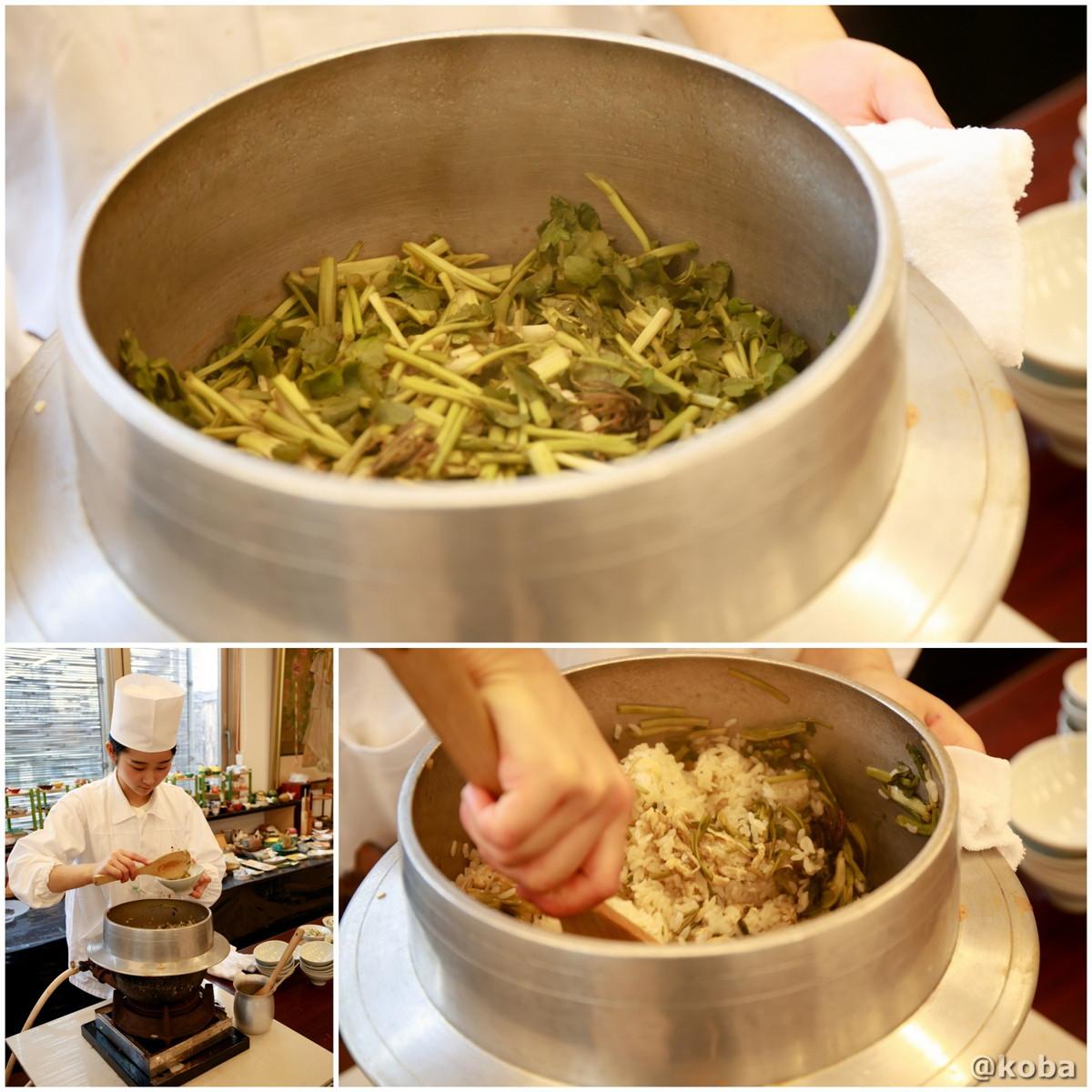 釜炊き芹(せり)ご飯 油揚げの写真|宇豆基野(うずきの)本店 湯葉懐石ランチ 豆腐料理店|東京都足立区・北千住|こばブログ