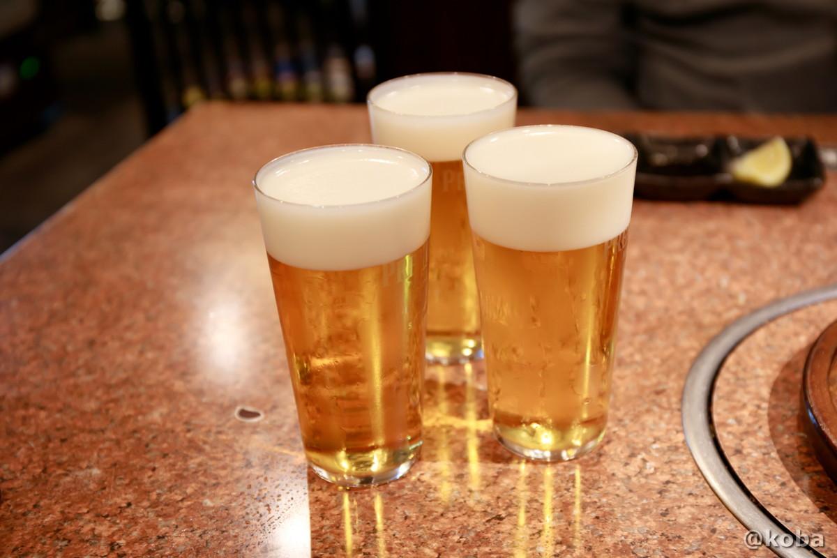 プレミアムモルツ 生ビールの写真│炭火焼肉 矢つぐ(すみびやきにく やつぐ)│東京都江戸川区・新小岩|こばフォトブログ