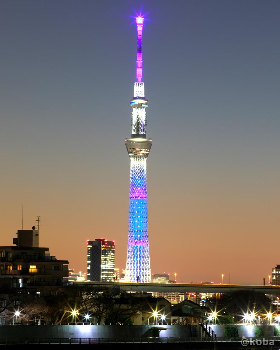 世界的に拡がる新型コロナウイルス感染症に、「世界が一丸となって立ち向かい、みんなで打ち勝とう」という思いを込めて、 地球をイメージした青色の特別ライティング写真|東京スカイツリー|葛飾区・中川|こばフォトブログ
