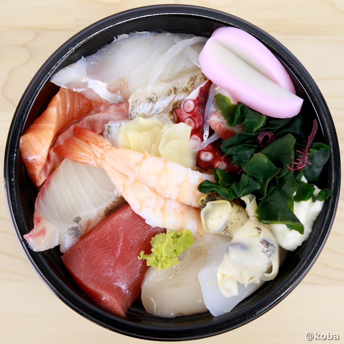 上から見た海鮮丼の写真|玉寿司(たまずし)テイクアウト ランチ|東京都葛飾区・新小岩|こばフォトブログ