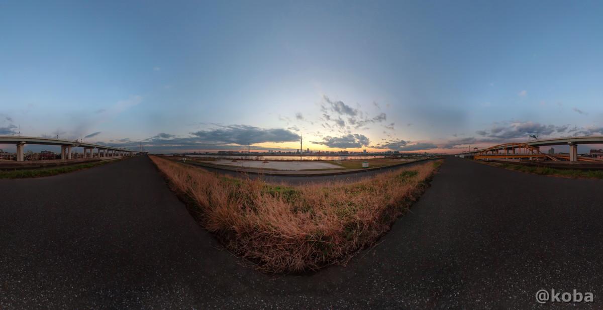 メルカトル 360°パノラマ画像 東京都葛飾区東四つ木避難橋 Canon EOS Kiss X5 EF-S10-22mm f-3.5-4.5 USM こばフォトブログ