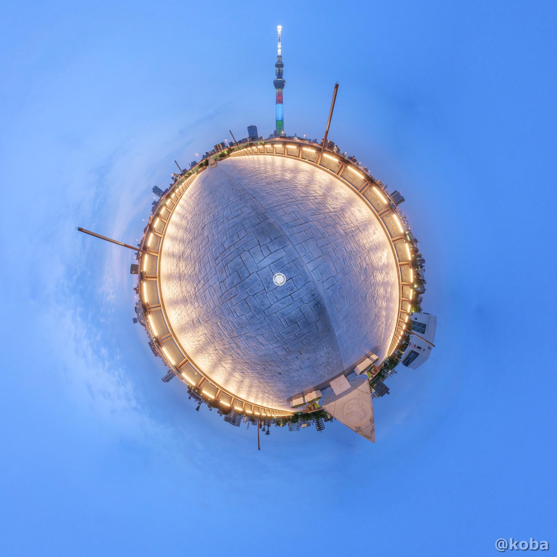 リトルプラネット 早朝の桜橋 PTGui CANON360度画像|東京スカイツリー パラリンピック スリー・アギトス 赤・青・緑|台東区・桜橋|こばフォトブログ