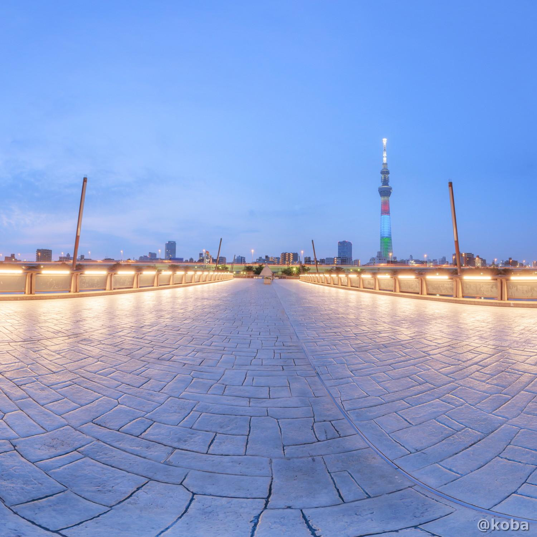 早朝の桜橋 正距円筒投影 360度画像 PTGui CANON 東京スカイツリー 台東区・さくらばし こばフォトブログ