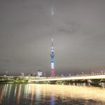 東京スカイツリー 「仏国旗トリコロール」 浅草側 桜橋付近より