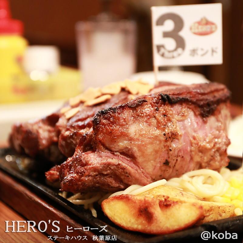 秋葉原 3ポンド ステーキ HERO'S ステーキハウス ヒーローズ 塊肉 katamariniku